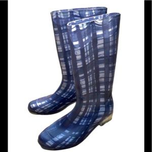 Coach blue plaid tall rain boots well IEPs size 7